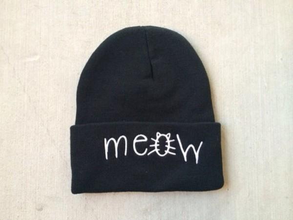 hat black meow hat