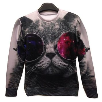 Galaxy Sweatshirts Funny Punk Cat 3D Sweaters Hoodies for Women Sweater Size L on Wanelo