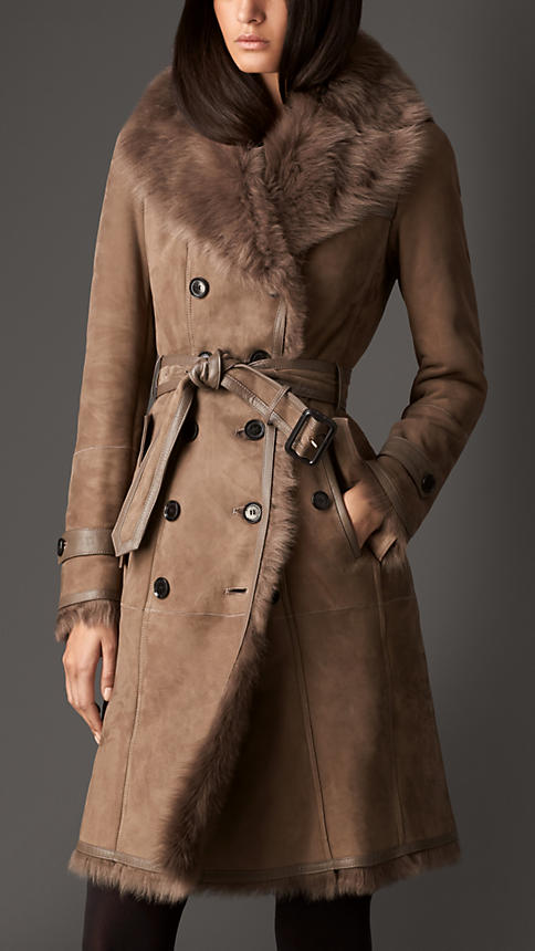 Long Shearling Trench Coat   Burberry