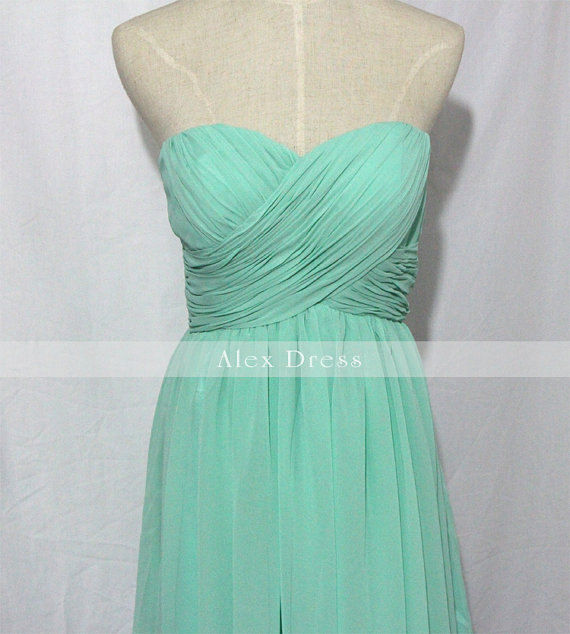 Mint Sweetheart Chiffon Short Bridesmaid Dress Mint di AlexDress