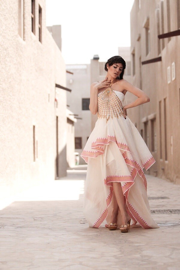 dress traditional off-white pink