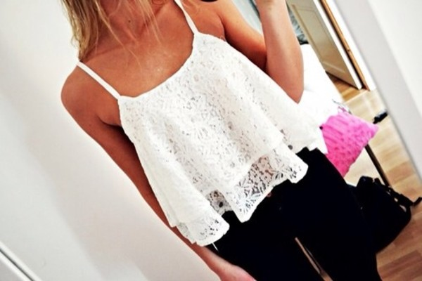 tank top white shirt lace elegant crop tops white crop tops