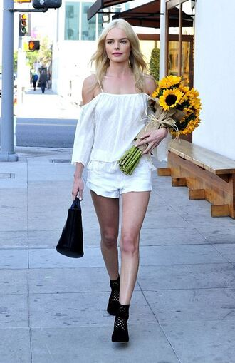 shorts ankle boots white top blouse off the shoulder kate bosworth white blouse white shorts black bag