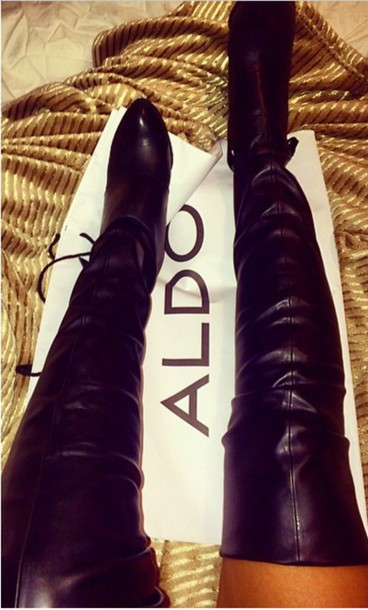 shoes leather thigh high boots boots