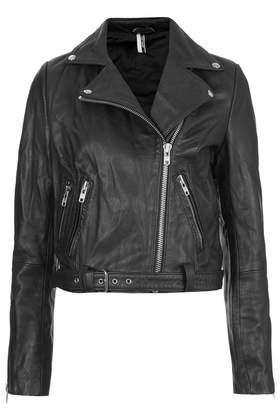 Premium Belted Leather Biker Jacket - Jackets & Coats - Clothing - Topshop