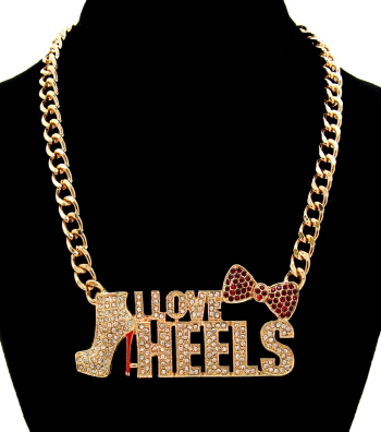 Necklaces Short Metal Statement Theme Crystal I love Heels in/with Clear Gold CHN0956CLEGD