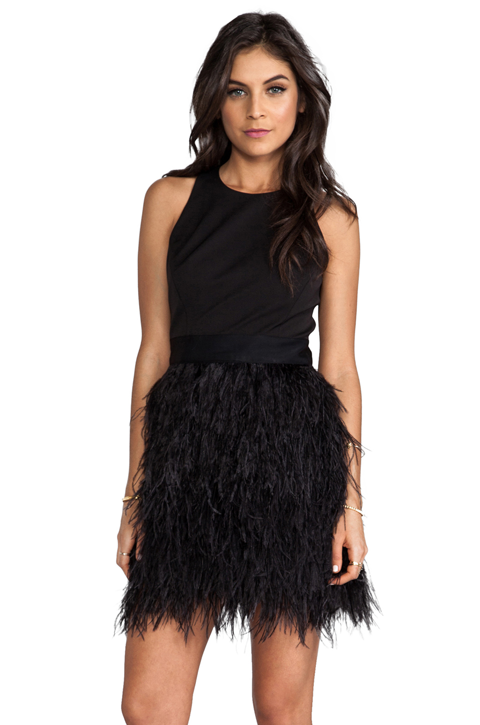 MILLY Cocktail Feather Dress in Black   REVOLVE