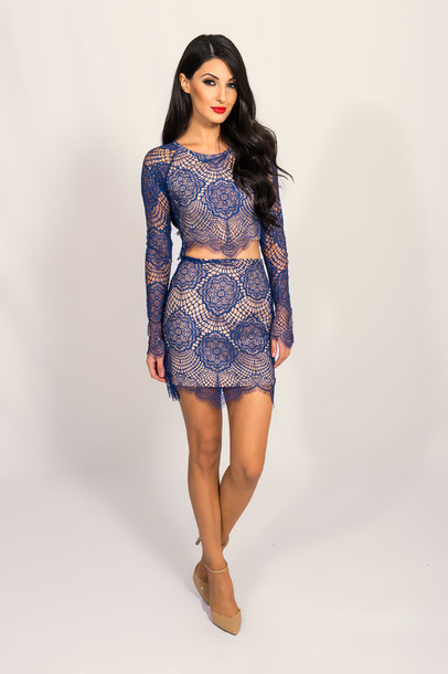 blouse for love and lemons crop tops lace two-piece sapphire fashion