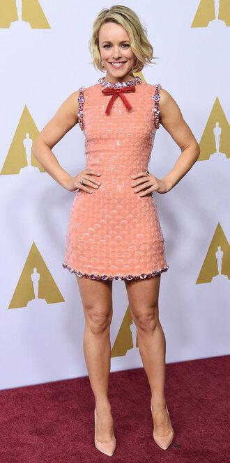dress mini dress cocktail dress rachel mc adams nude high heels nude dress