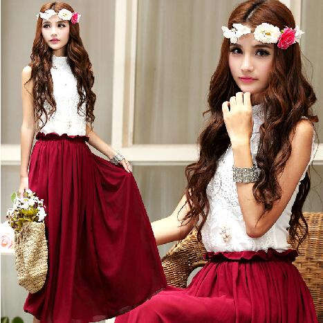 Charming Lace Chiffon Vintage Burgundy Dresses, Burgundy Dresses, Vintage Dresses, Long Dresses on Luulla
