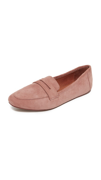dark loafers pink shoes