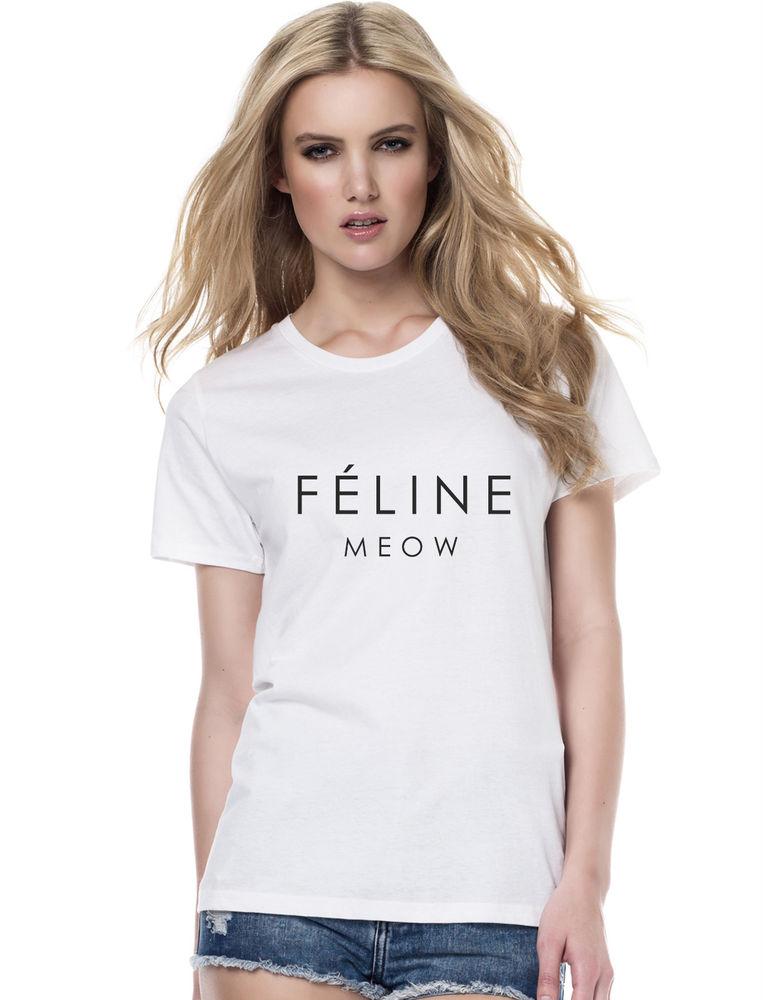 Feline Meow Cat T Shirt Designer Quality Cara Tumblr Hipster Dope Swag   eBay