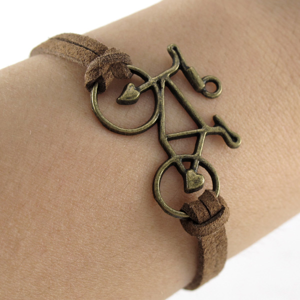 Antique Bronze Bicycle Bike Design Charms Suede Wrap European Bangle Bracelet | eBay