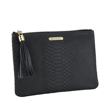Black All in One Bag   Embossed Python Leather   GiGi New York