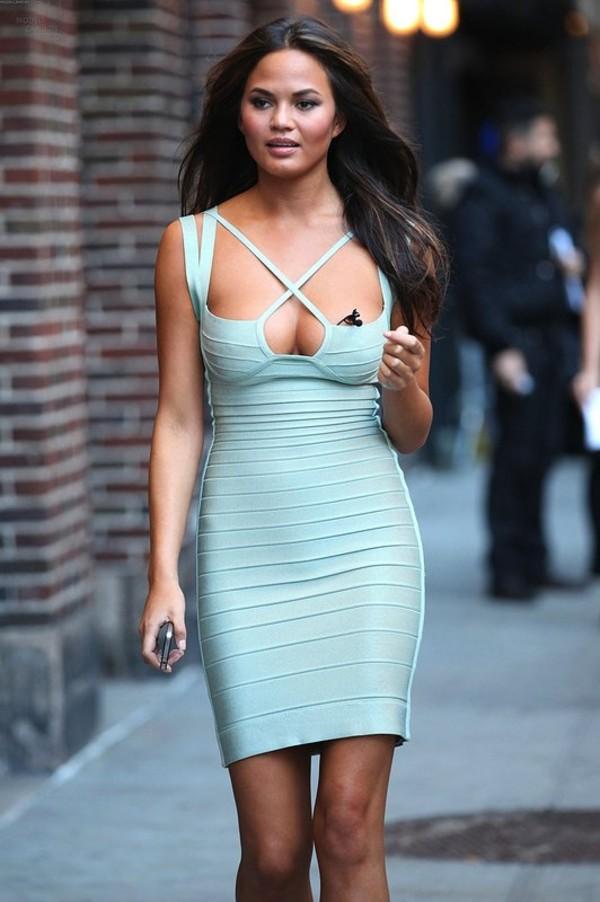 dress bandage dress celebrity style blue light blue straps dime line