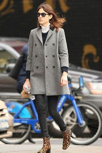 shoes alexa chung coat printed boots printed ankle boots ankle boots animal print leopard print mid heel boots thick heel block heels jeans black jeans sweater black sweater grey coat sunglasses black sunglasses fall outfits