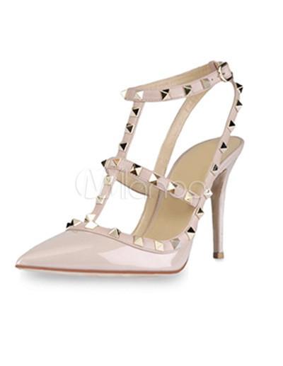 Sandales en vogue à talons aiguilles et bout pointu en PU abricot clouté - Milanoo.com