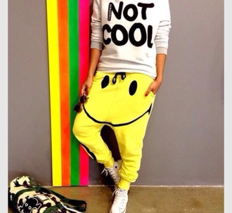 pants yellow sweater sweatpants yellow pants