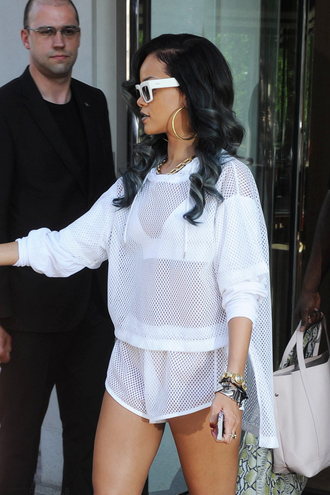 swimwear rihanna white athleisure blouse t-shirt cute sweater mesh sweatshirt shorts shirt see through top hot shortinthefront fishnet shorts sportswear rihanna fashion hoodie skirt white crop tops jumper romper mesh bottoms mesh set mesh top