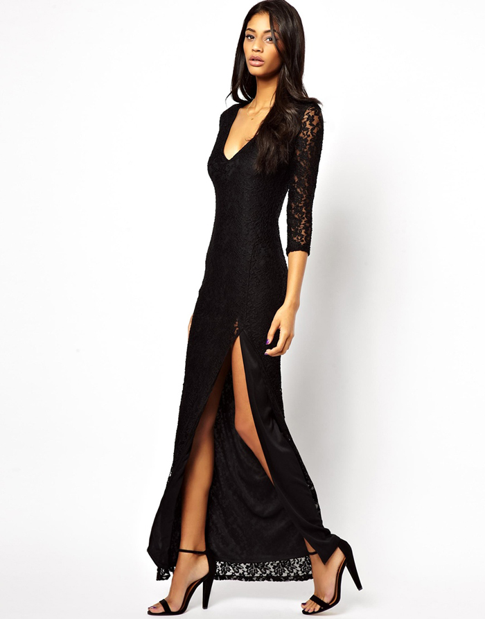 2013 Autumn Winter New Fashion Black V Neck Sexy Full Length Lace Dresses For Women Plus Size XS XXL Evening Party Dress Elegant on Aliexpress.com