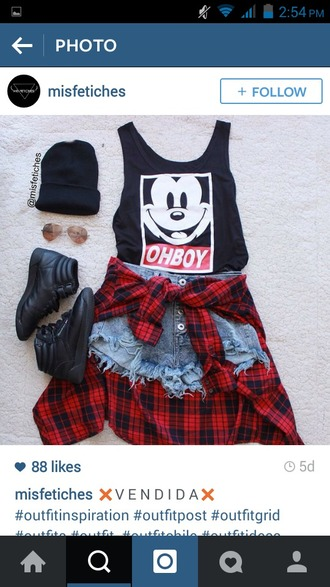 tank top mickey mouse disney denim shorts shorts shoes hair accessory blouse