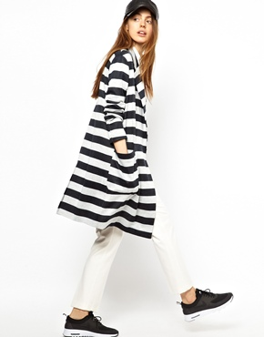 ASOS | ASOS Coat in Light Weight Stripe at ASOS