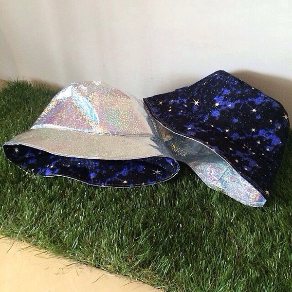 hat bucket hat fashion dope style swag black galaxy print holographic holographic