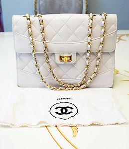 Authentic Vintage Chanel White Lambskin Classic Chain Shoulder Bag RARE | eBay