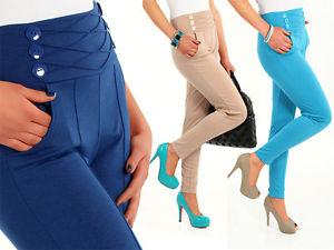 ♥ Hot High Waist Stretch Trousers Chino Women Girls Pants ♥ Sizes UK 8 18 FA10   eBay