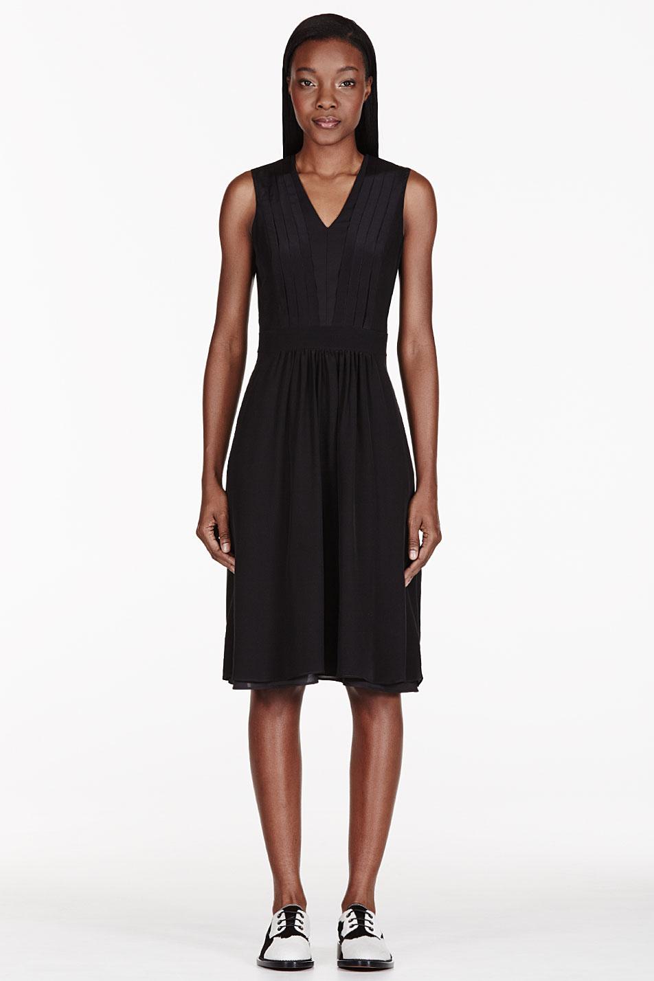 altuzarra black silk pleated dress