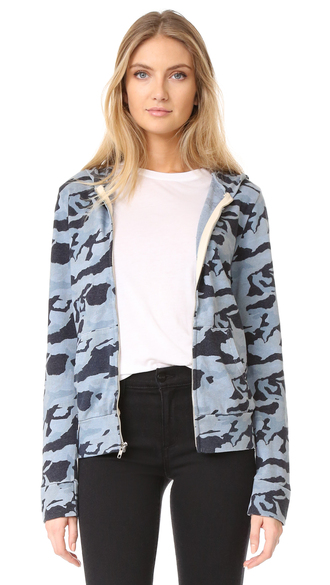 jacket fashion clothes monrow zip up camo hoodie lightweight long sleeves banded edges top shopbop