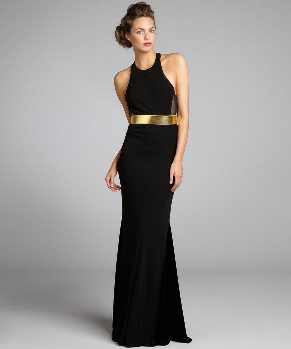 A.B.S. by Allen Schwartz black stretch jersey knit belted T-back 'Gwen' gown | BLUEFLY up to 70% off designer brands