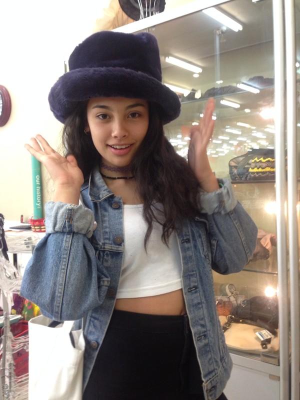 hat purple fluffy hat top hat clueless bag coat jacket fur hat