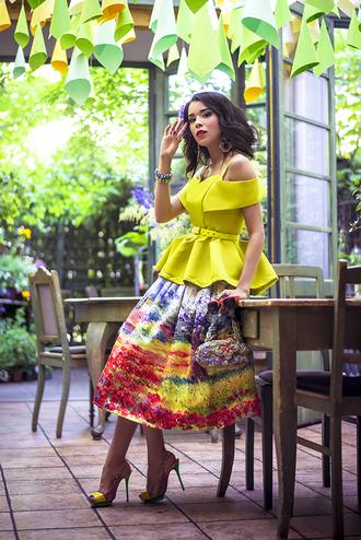 macademian girl top skirt shoes bag sunglasses jewels belt