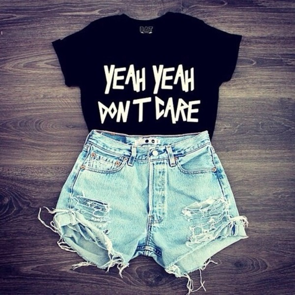 shirt shorts idc t-shirt t-shirt black t-shirt black crop top crop tops black and white don't care girl black cropped shirt graphic tee graphic crop tops sarcasm perfect short High waisted shorts beautiful urgent quote on it skater denim black white letters yeah lyrics