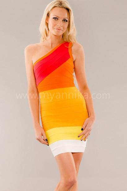 Hollywood - One Shoulder Rainbow Coloured Bandage Dress Annika - Bandage Dresses   Celebrity Party Dresses   Herve Leger Dresses Bandage dress detail