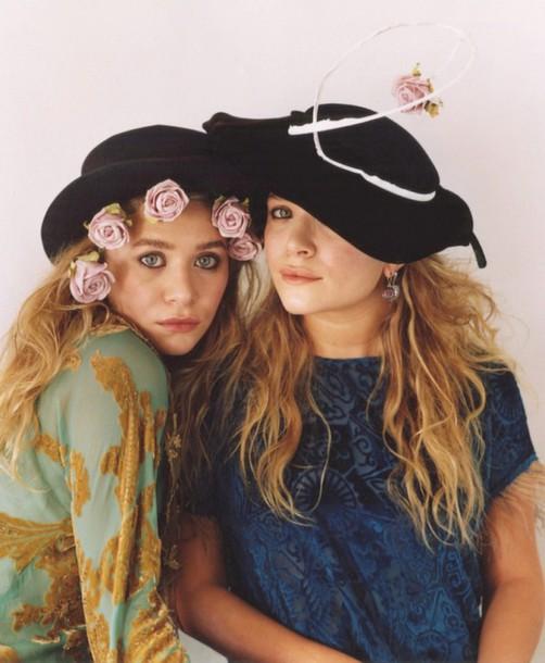 olsen mary kate ashley hat flowers olsen sisters t-shirt
