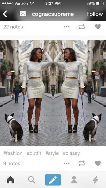 dress two-piece white dress white crop tops style fashion skirt bandage dress