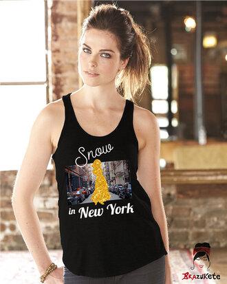 tank top disney snow white new york city sparkle gold black