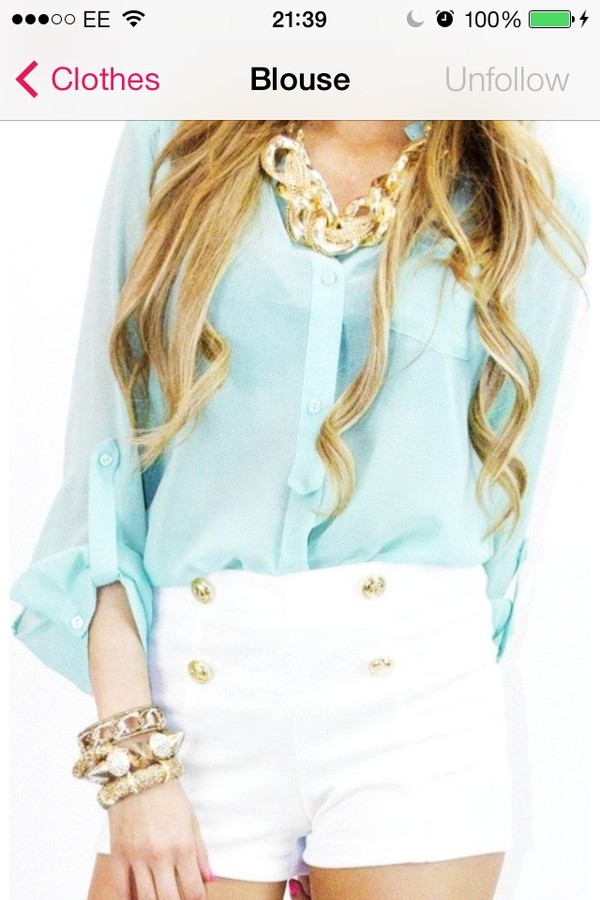 blouse jewels shorts