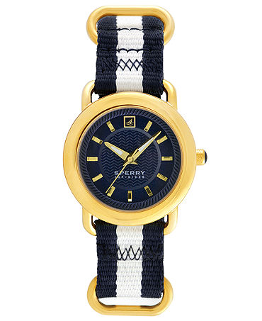 Sperry Top-Sider Watch, Women's Hayden Navy Blue and White Stripe Nylon Ring 36mm 102048 - Watches - Jewelry & Watches - Macy's
