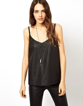 ASOS | ASOS Cami with Cutwork Panels in Leather Look at ASOS