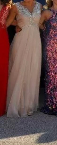 dress prom dress light pink v neck dress beaded prom gown pink pink dress prom