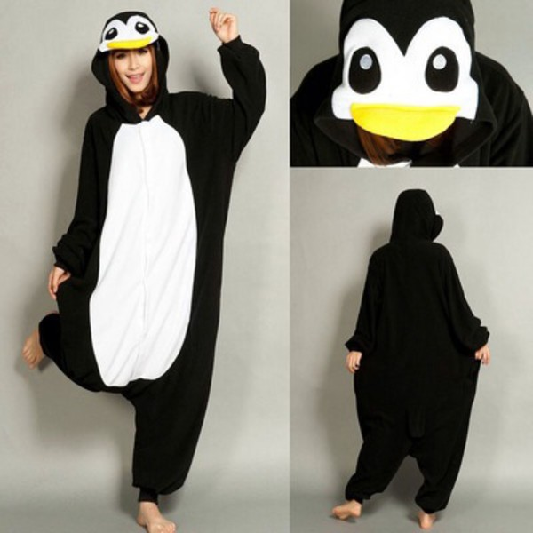 pajamas penguin black and white onesie halloween costume