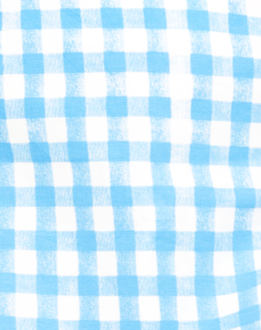 Buy Motel Annie A Line Skirt in Gingham Blue  at Motel Rocks