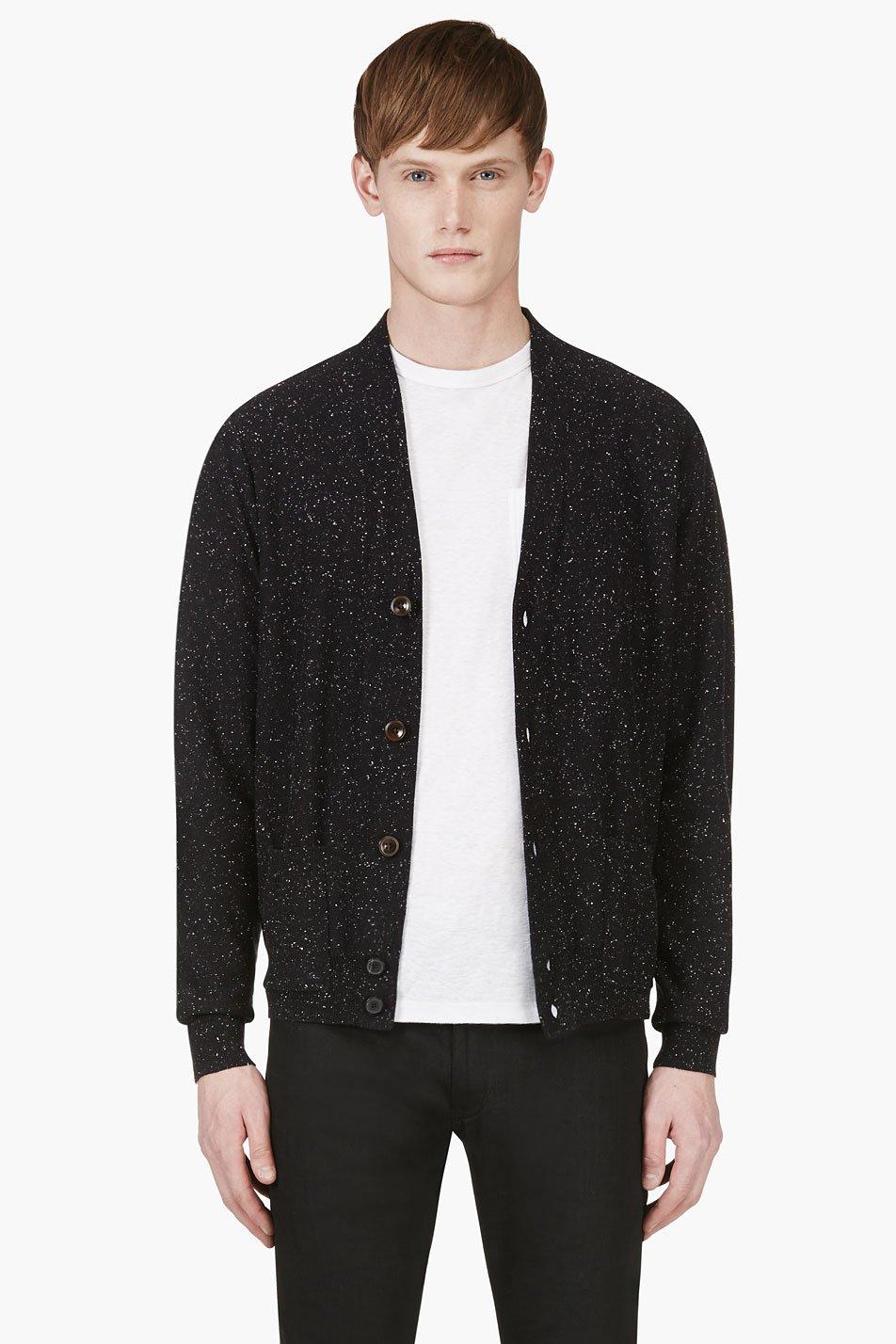 paul smith jeans black slub elbow patch cardigan