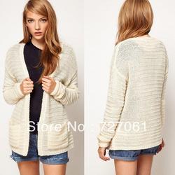 2013 chute. new long manche tricoté cardigan blanc femme de couleur solide chemisiers. chandails de mode haut dans  de  sur Aliexpress.com