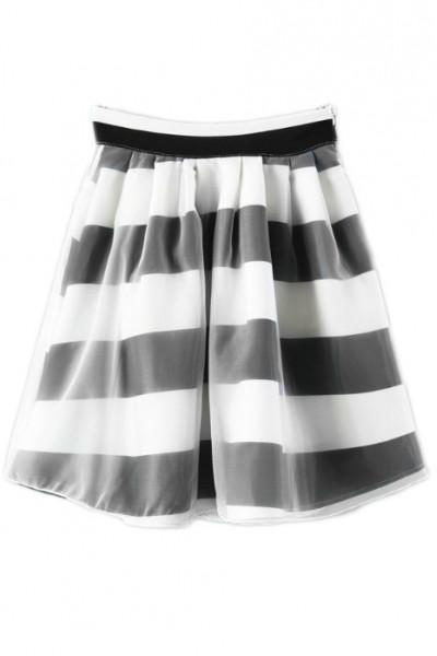 KCLOTH Striped Organza Skater Skirt