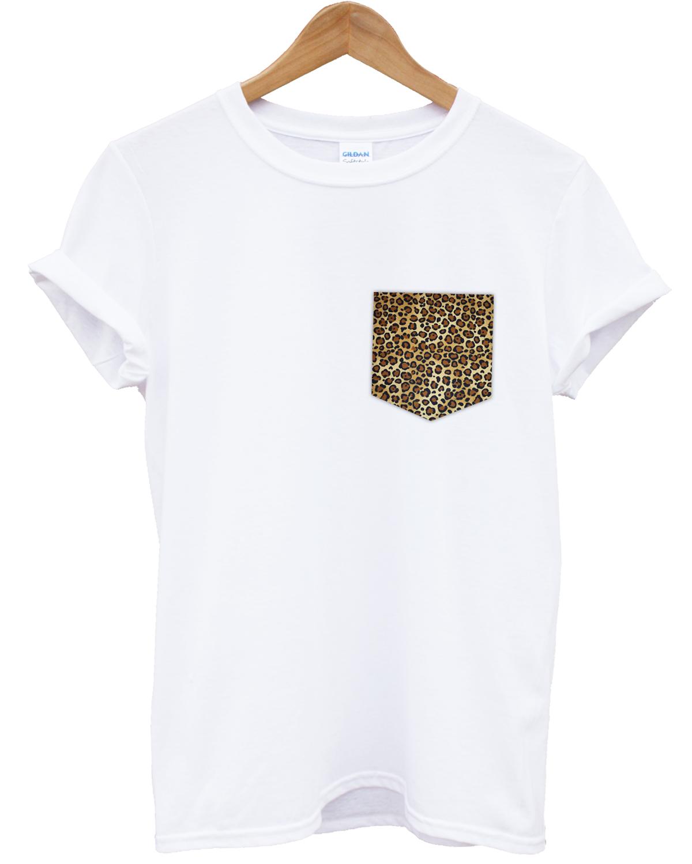 Leopard print pocket white t shirt