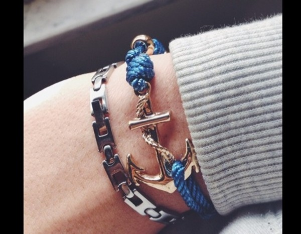 jewels anchor bracelet sailor anchor nautical necklace jewelry metal ocean sea beach navy vintage Pin up